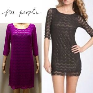 Free People Holly's Lace Fuchsia Dress